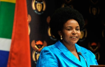 Minister Maite Nkoana-Mashabane addressing the Media on South Africa's full membership of Brazil, Russia, India and China Group (BRIC) now being called BRICS.