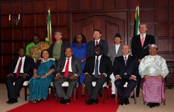 H.E. Ms. RUCHI GHANASHYAM, High Commissioner of India to South Africa presented her Letter of Credence to H.E. Mr. Jacob Zuma, President of the Republic of South Africa on 6th February, 2015 at the Presidential Guesthouse, Pretoria
