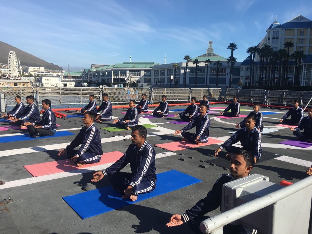 Celebration of Yoga Day onboard INS Tarkash in Cape Town