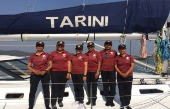 All women crew Indian Naval sailing vessel Tarini set to sail around the globe