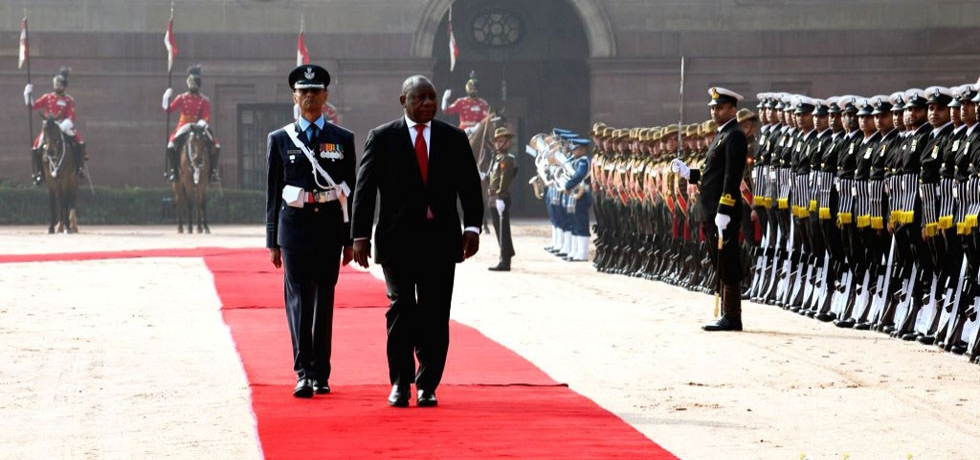 Cyril Ramaphosa, President of South Africa inspects Guard of Honour at Rashtrapati Bhawan in New Delhi  January 25, 2019