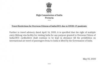 Travel Restrictions for Overseas Citizens of India(OCI) due to COVID-19 pandemic