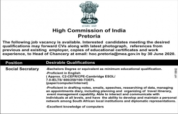 Job Vacancy in the High Commission of India, Pretoria